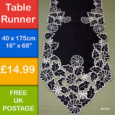 "New Black Silver Leaf Daisy  Embroidered Table Runner Cutwork 180cm  68""  M418R"