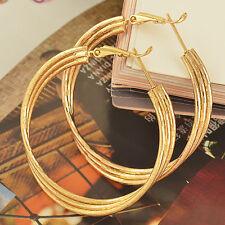 45mm Big Hoop Chandelier Earrings 14K Gold Plated Womens  3 Wire Hoop Crossed