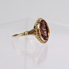 Fine Estate Yellow 10K Gold & Amethyst Cocktail Ring - Size 7 - VR
