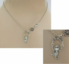 Silver Mermaid Pendant Necklace Jewelry Handmade NEW adjustable Fashion Nautical