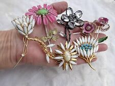 VINTAGE HUGE JULIANA PINK RHINESTONE CRYSTAL MOLDED GLASS FLORAL FLOWER PIN LOT