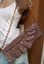WoW New VALENTINO ITALY Rich Grey Patent Leather HANDBAG SHOULDER BAG CLUTCH