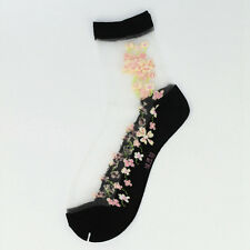 Women Sheer Thin Transparent Lace Ruffle Ankle Socks Crystal Sock Fashion New