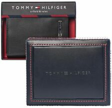 NWT TOMMY HILFIGER Mens 100% Leather Wallet Trifold 31HP11X012 Black AUTHENTIC