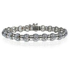 Genuine Diamond Accent Round Tennis Bracelet in Silver Tone
