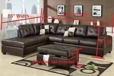 Bonded Leather Sectional Sofa 2 Piece W/ Reversible Chaise in Espresso