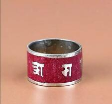 Wide Tibetan Red Coral Inlay Carved Spaced OM Mani Sawtooth Peace Blessing Ring