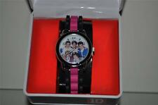 1D ONE DIRECTION Girls ANALOG WATCH Black/Pink Silicone Strap NWT