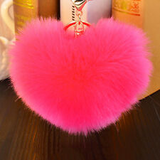 Charm Rabbit Fur Heart Shape Ball PomPon Car Keychain Handbag Pendant Key Ring