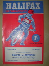 HALIFAX v COVENTRY LEAGUE K.O. CUP 1969 SPEEDWAY PROGRAMME
