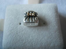 Genuine PANDORA sterling silver and 14ct Gold Bow Purse Charm 790474