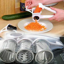 Rotary Cheese Grater Stainless Steel 3 Drums Blades Slicer Chocolate Carrot New
