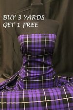 Genuine Purple Black Tartan Plaid Woven Poly-Viscose Craft Dress Fabric Material