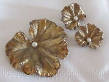 Vintage Signed Napier Sterling Silver Gold Wash Leaf Brooch Pearl Pin & Earrings