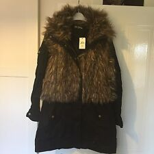gorgeous black river island ,miss Springfield parka fake fur jacket coat size 12