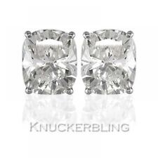 0.50ct Certified Cushion F SI Diamond Solitaire Stud Earrings 18ct White Gold