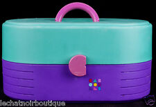 Makeup Caboodles Cosmetic Carry Case Organizer Storage Purple Pink Vtg 80's