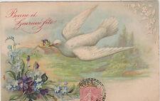 BELLE CARTE POSTALE ANCIEN FANTAISIE COLOMBE/PENSEE/MYOSOTIS/VIOLETTES/1906