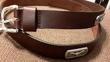 University of Texas Longhorns Men's Brown Genuine Leather Belt with Conchos 36