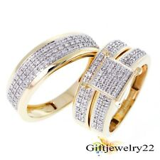 2.68 CT Diamond Trio Set 14K Gold Over Matching His & Her Wedding Ring & Band