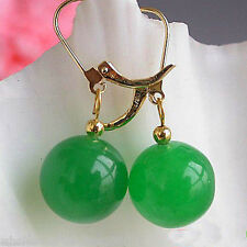 Handmade Natural 14mm Green Jade Round Beads Silver Earrings Leverbacks