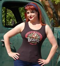 BEAVER CREAM Pomade LADIES Black Tank Top Rockabilly Burlesque Pin Up LGBT