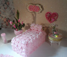 Petite Princess Doll House Recreated Pink Bed w/ Matching Decor, Lundby Size