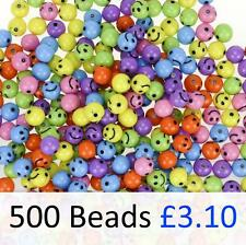 500 Smile Smiley Face Beads Mixed Bright Colours Plastic 9mm