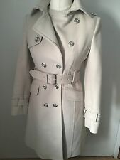 Karen Millen Cream Wool Cashmere Military Coat Silver KM Buttons UK 10