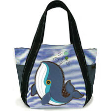 New Chala Handbag Carryall Zip Tote WHALE Blue Striped Canvas Large Bag gift