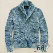 $795 RRL Ralph Lauren Washed Indigo Guernsey Cotton Shawl Cardigan-MEN-L
