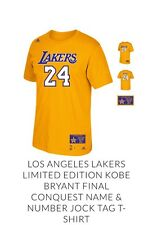 LAKERS LIMITED EDITION KOBE BRYANT FINAL GAME JERSEY T SHIRT SIZE M