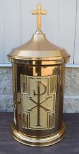 Nice Older Bronze Tabernacle with Key + Chalice Co. + (CU112)