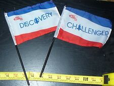 """rare lot of 2 NASA Space Shuttle Orbiter Flags 4"""" x 6"""" Discovery & Challenger"""