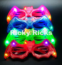 12 PCS LED Batman Light Up Shades Bat Man Flashing Glasses Rave Super Hero Favor
