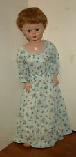 "Vintage 1950's Sleepy Eye 30"" Rubber Stuffed Doll w/Hand Tailored Slip & Dress"