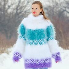 SUPERTANYA GREEN WHITE PURPLE Hand Knitted Mohair Sweater Icelandic Fuzzy Jumper