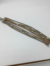 LUCKY BRAND Brown Leather Layer Toggle Bracelet Two-Tone Metals $39 #1104