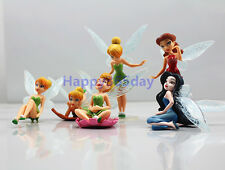 6pcs Set Tinker Bell Fairies Cake Toppers Princess Figures Dolls PVC Party Toy