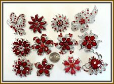 12 RED Vintage Style Lot Brooches Pins Wedding Bouquet