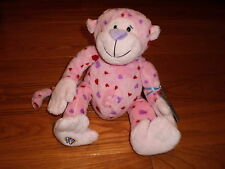 Webkinz by GANZ Love Monkey Full Size New With Unused Code & Pink/Purple Hearts