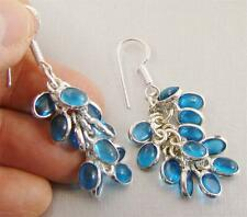 BLUE QUARTZ & 925 Sterling Silver Hook Drop Dangle Earrings 60mm - 89s