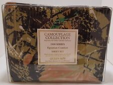 Queen Size Green Camo Sheet Set 1800 Count Brookside Collection Camouflage NEW
