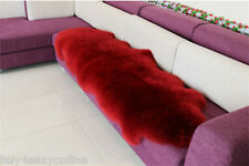 Double Pelt LARGE Sheepskin Rug - Burgundy- Genuine Real Australian - 6' x 2'Rug