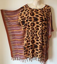 Animal-print Caftan Kaftan Poncho Beach Cover-up Top Tunic M L XL 2X Oz Seller