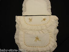 Beautiful Pram Quilt and Pillow  Set suitable for MOST PRAMS COLOUR CREAM / GOLD