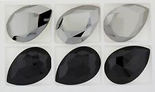 (1 PC) - Swarovski Crystal 4327 Pear Fancy Stone  40x27mm - JET METALLIC SILVER