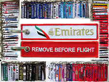 Emirates Airlines from Dubai keyring tag keychain REMOVE BEFORE FLIGHT -RED-