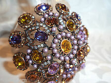 Exquisite JOAN RIVERS Crystal & Faux Lavender Pearls Pin / Brooch