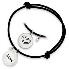 925 Sterling Silver Love Charm Black Leather Expandable Cord Bracelet